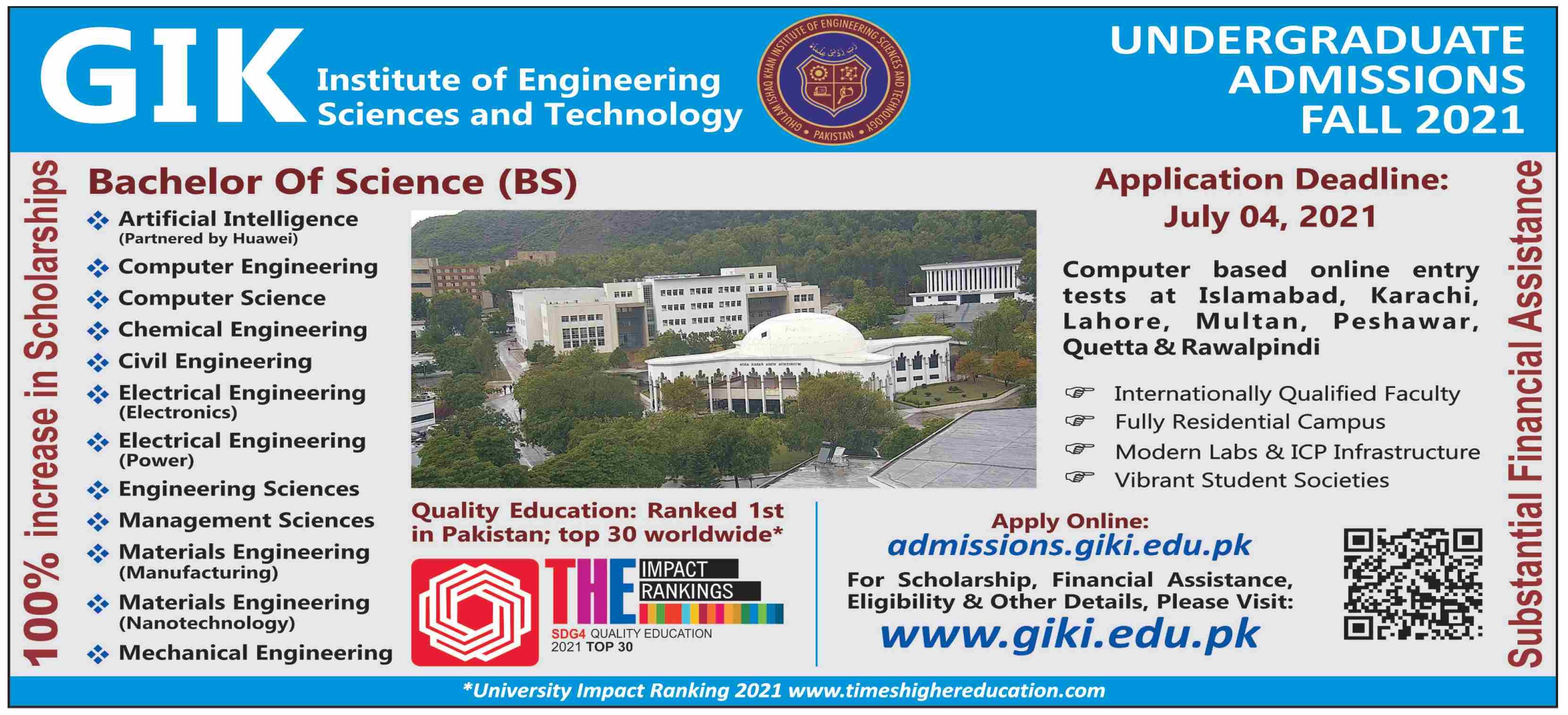 GIKI University Admission 2021