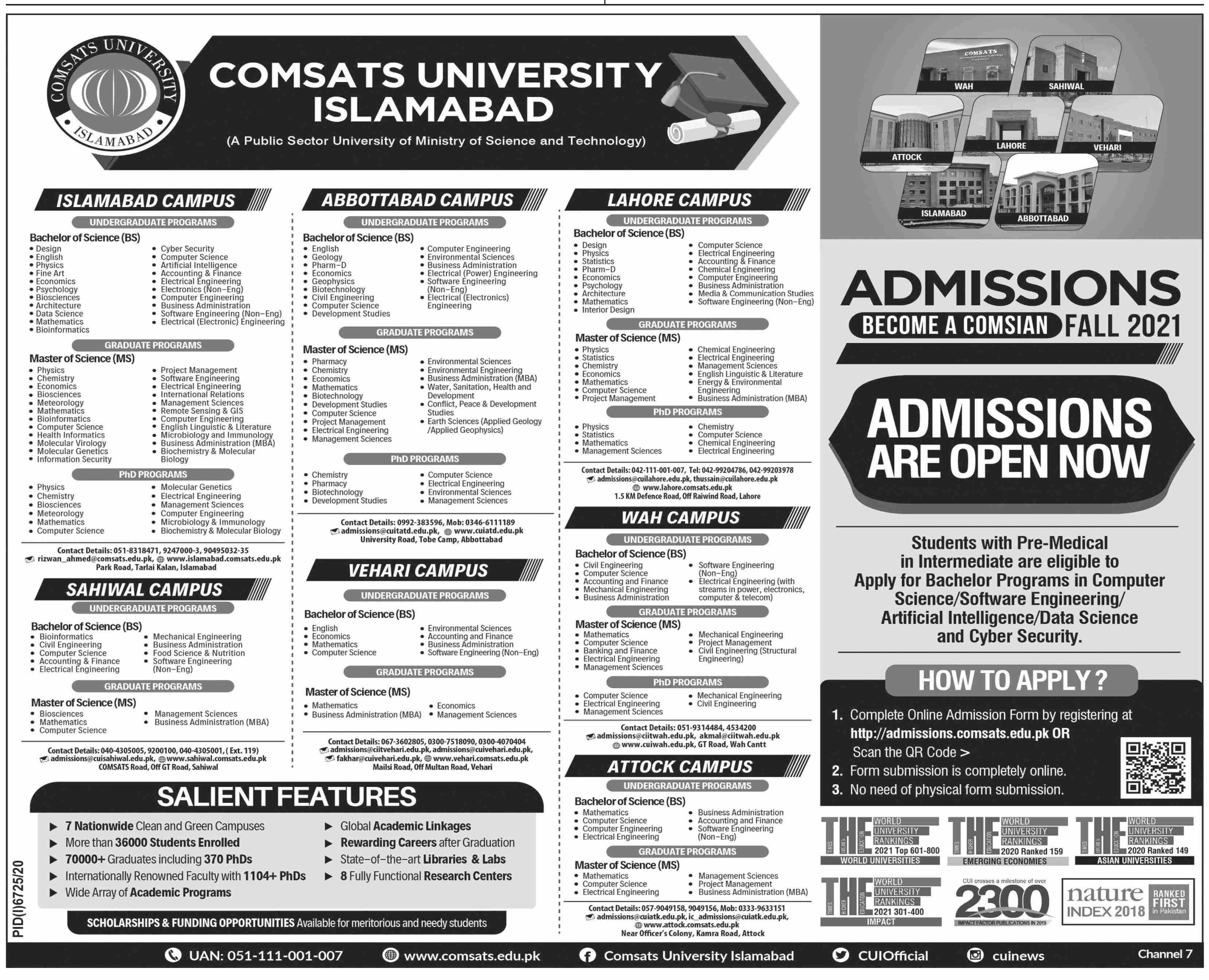 COMSATS University Islamabad Admission 2021