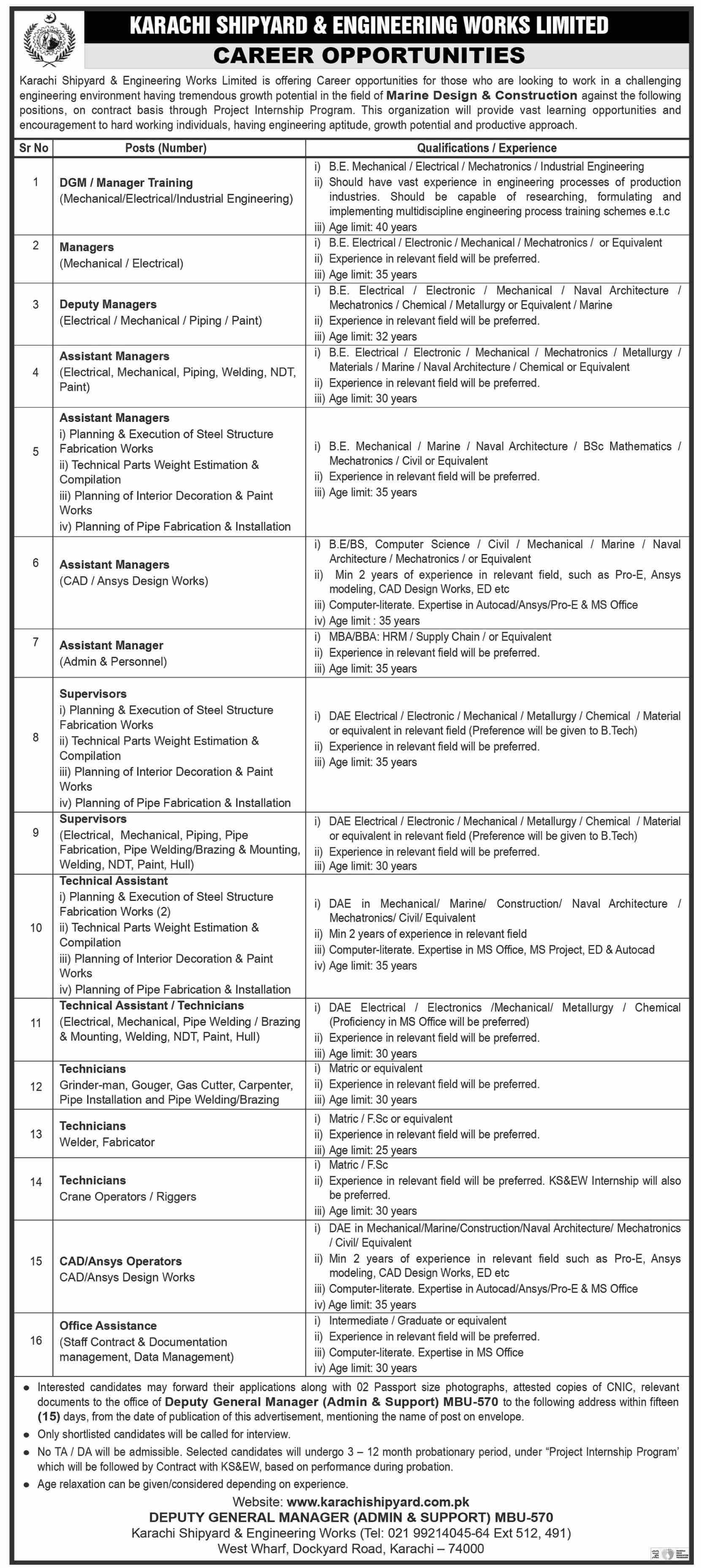 Karachi Shipyard & Engineering Works Jobs 2021 2